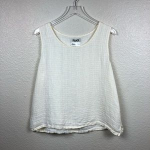 Flax Cream Linen Boxy Relaxed Tank Top